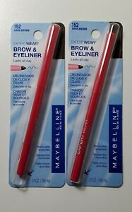 2 Maybelline New York Expert Wear Brow and Eyeliners 152 Dark Brown New Sealed