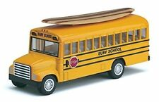 "New 5"" Kinsfun School Bus Surfboard DieCast Model Toy Pull Back Action"