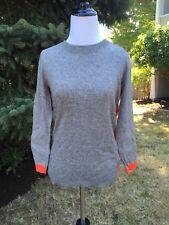 NWT JCrew Gray Orange Colorblock Elbow Patch Sweater XS Wool Blend