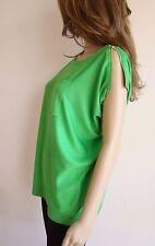 """Pull tricot vert pomme """"GOLDEN DAYS"""" manches courtes et zip sur les épaules"""