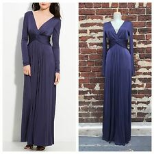 NWT BCBG Maxazria sz S Navy Silky Jersey Long Plunge Ember Gown Maxi Dress