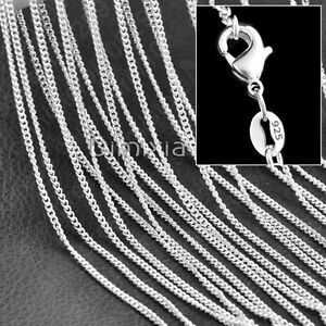 """925 Stamp Sterling Silver Necklace Unisex Flat Curb Chain Link 16"""" 18"""" Inch 2mm"""