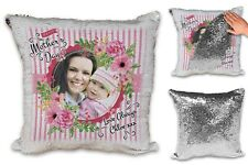 Personalised Happy Mothers Day Image & Text Sequin Reveal Cushion Cover & Insert