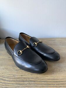 New in Box Gucci Jordaan Horsebit Mens Black Leather Loafer Size 10.5