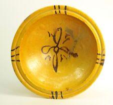 "! Antique 1800's Mustard Yellow Slipware Glazed Earthenware Bowl Plate 10"""