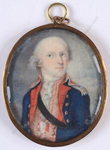"""De Michelsen (Michelson?) """"Portrait of a military officer"""", miniature"""