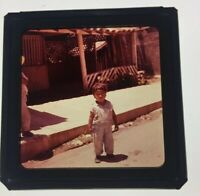 "COLOR PHOTO SLIDE 2 3/4 x 2 3/4"" Toddler On Street Latin America 40's Or 50's"
