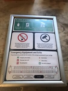 British Rail Mark 3 Coach Internal safety information board