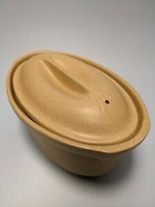 Vintage Emile Henry Cream Heavy Oval Casserole Dish with Lid