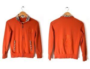 Burberry Brit Zip Up Jacket Sz L Embellished Orange Nova Check Jersey Rhinestone