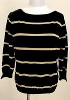 NWT Ralph Lauren Black Gold Striped Sz XL Boatneck Silk Sweater