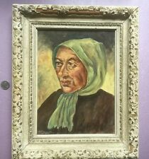 Vintage painting by H. BREMMER of old women with scarf. Very well done.