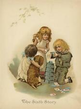 ANTIQUE IRISH SETTER PUPPY DOG VICTORIAN CHILDREN PLAYING CARDS COLOR ART PRINT