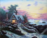 Quality Hand Painted Oil Painting Seaside Cottage 20x24in
