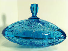 VINTAGE HAZEL ATLAS BLUE GLASS FOOTED CANDY DISH WITH APOTHECARY LID