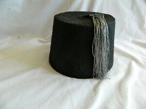 """Egyptian Handmade Black Turkish Fez Tarboush Hat With Silver Tassel 22"""""""