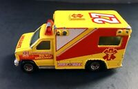 Matchbox Diecast Ambulance 27 Yellow and Red 1996 1:80 Scale #6696