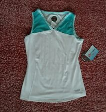 Bolle Tennis Tank Top Womens Small White Blue Extra Dry Racer Back Mesh Key Hole