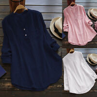 Womens Long Sleeve Casual Blouse Shirt Ladies Loose Tunic Pocket Tops Shirt Top