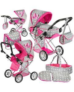 Girls Junior Dolls Toy Pram Buggy & Bag PinkGrey Christmas Birthday Gift Present