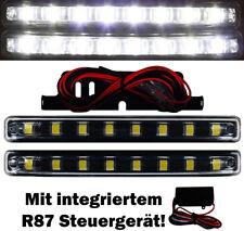 2x LED Tagfahrlicht TÜV +Steuergerät 8SMD schwarz E4 R87 TFL Xenon 6000K DRL M7