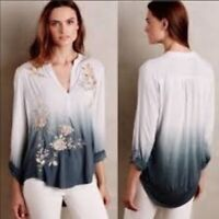 Anthropologie TINY Embroidered Ombre Top SIZE SMALL