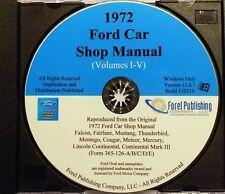 1972 FORD MUSTANG GRAN TORINO THUNDERBIRD GALAXIE MAVERICK PINTO SHOP MANUAL CD