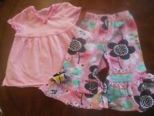 Toddler Girls 2pc Outfit, 2T,Pink Top w/Multi Colored Pants, J Khaki, Jelly Pug