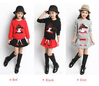 Cute 2PCS Set Baby Kid Girls Long Sleeve T-shirt+Skirt Clothes Outfits Fit 3-11Y