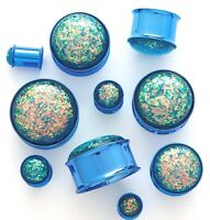 PAIR Blue Synthetic Opal Titanium Tunnels Double Flare Plugs Earlets Gauges