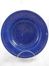 "Vintage Blue Speckle Graniteware Enamel Plate 8.5"" Shallow Bowl Dish"