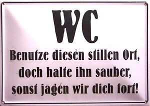 Toilette WC Regel Funschild Fun Schild Blechpostkarte Blechschild 10,5 x 14,8 cm