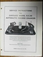 SERVICE MANUAL FOR GARRARD RC 80 TURNTABLE ORIGINAL 32 PAGES USEFUL INFO