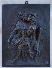 French Erotic Engraved Bronze Plaque Soldier Soubrette 18th C