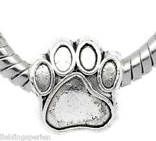 60 Antiksilber European Beads Hundpfote Spacer Perlen Charm  11x11mm
