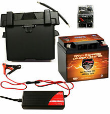 VMAX MR86-50 12V 50AH AGM BATTERY + CB60 + 5Amp Charger + Group 24 Box + Cable