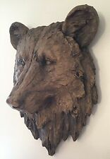 Large Resin Faux Bear Head Bust - Grizzly Bear Head - Log Cabin Lodge Wall Decor