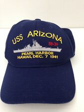 USS Arizona Baseball Hat Pearl Harbor Memorial Blue Commemorative Adjustable