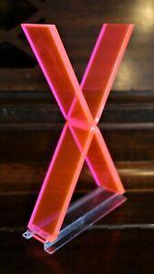 "Vintage Mid Century 1950's Retro Neon Orange Pink Fiber Optic Letter X - 7"""