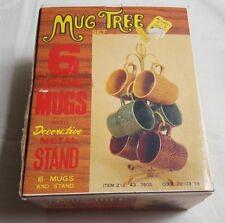 NOS Vintage MUG TREE Set w Stand & 6 Ceramic Mugs UNUSED!