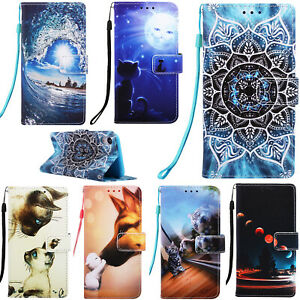 Flip Patterned PU Leather Strap Lot Card Slot Wallet Stand Case Soft Cover YB1