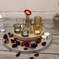 Varuni Vintage 6 Tea Light Holder Candle Pots and Vase with Wooden Tray Home