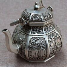 Old China White Brass Carving Bird Fish Flower Pattern Wine pot Teapot Statue