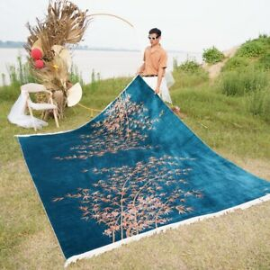 YILONG 8'x10' Bamboo Handmade Silk Carpet Blue Original Hand woven Area Rug