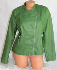 ALFANI PETITE (L) Jacket WILLOW BOUGH Green Zip Front Faux Leather   MSRP $99.50