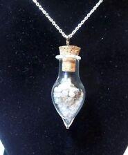 LOT NATURAL ROUGH DIAMOND TCW 10 GLASS PENDANT s silver NECKLACE positive energy