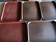 "5 As Is Vintage Weave Pattern 2 Le Beau 3 Cambro Brown Plastic 12"" x 16"" Trays"