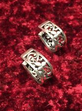 Silpada Sterling Silver Filigree Hinged Vine Huggie Earrings Rare!  HTF!  P1122