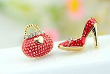 Red Asymmetrical Shoe Stiletto High Heel Purse Handbag Earrings Stud