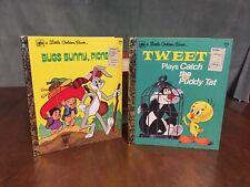 Set Of 2 - Looney Tunes Little Golden Books, Bugs Bunny, Tweety, 1970s Era
